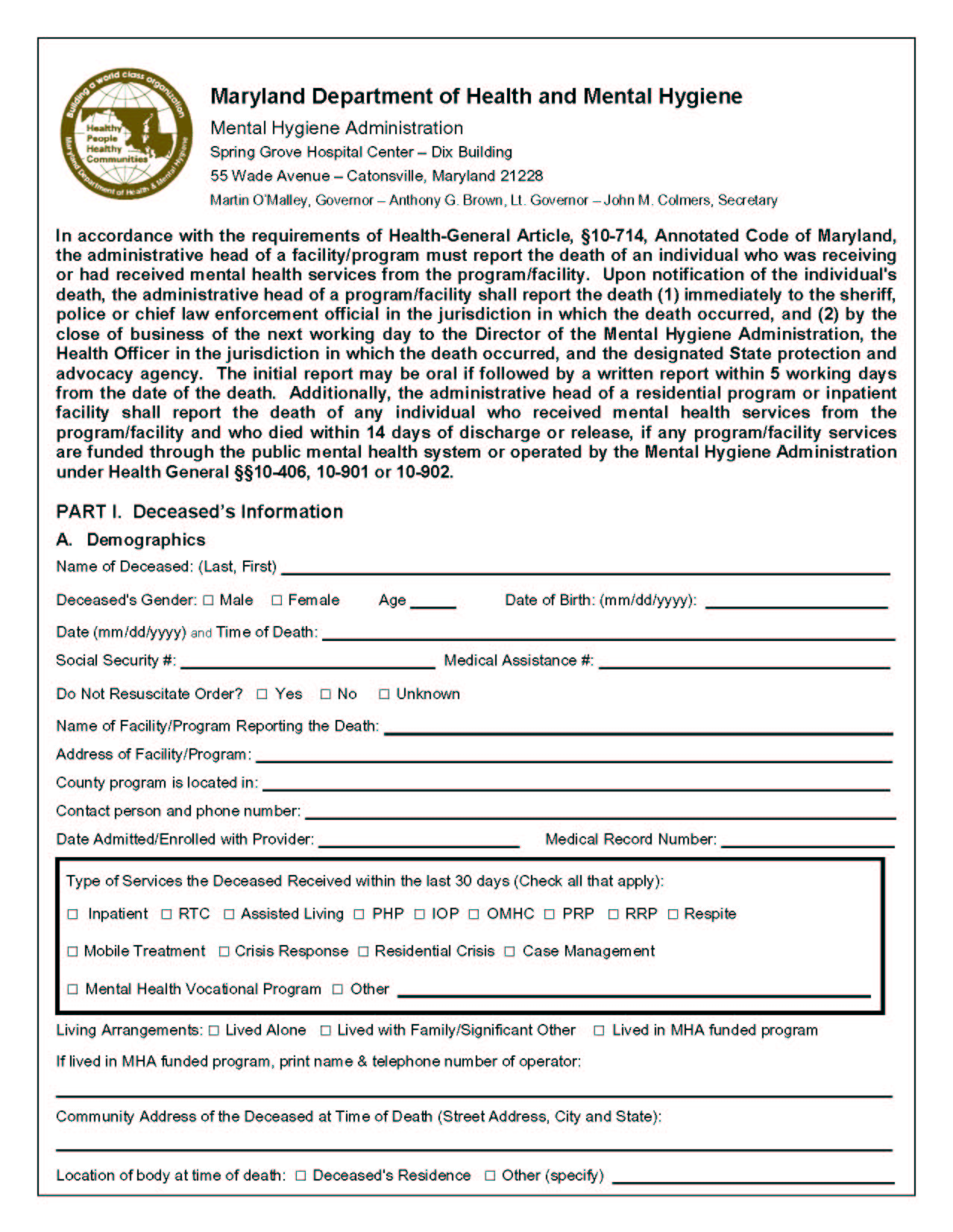 Anne Arundel County Mental Health Agency Inc » Forms